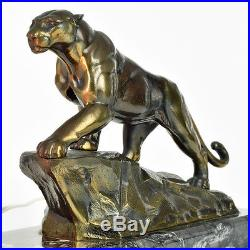 Outstanding 1930s French ART DECO Panther SCULPTURE TABLE LAMP, Mood Light