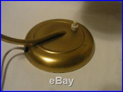 Pair Art Deco Bauhaus Glass and Brass Wall or Desk Nightstand Bed Side Lamp #