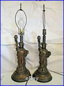 RARE ART DECO Antique 1950's Statue Of Liberty Metal Table Lamps NYC Freedom