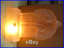 Rare Art Deco Mckee Nude Lamp In Frosted Pink Deprssion Glass