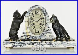 Rare 1920s French ART DECO Panther Cat SCULPTURE CLOCK with 2 GARNITURE LAMPS