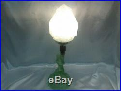 Rare Exquisite Art Deco Walther Sohne Green Satin Glass Lamp Rewired
