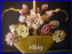 Rare Steuben Art Glass Yellow Acid Etched Boudoir Fan Lamp withBone China Flowers