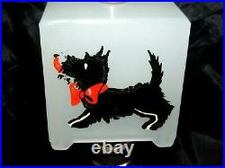 Rare Vintage Art Deco White Glass Lamp With Scottie Dogs Glass Shade Nice