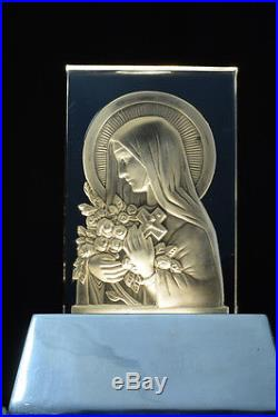 Religious French Art Deco Glass Lamp By Verlys Portrait St Theresa Roses Bronze