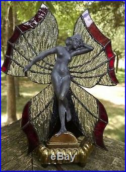 STUNNING! VINTAGE ART DECO STAINED GLASS BUTTERFLY NUDE LAMP Leaded stain glass