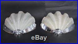 SUPERB PR ANTIQUE ART DECO GLASS CLAM SHELL WALL LAMPS 1930s lights shade