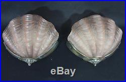 SUPERB PR PINK ANTIQUE ART DECO GLASS CLAM SHELL WALL LAMPS 1930s lights shade