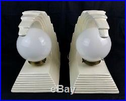 Sculptured Wave Ceramic Table Lamps Opalescent White Hollywood Regency Art Deco