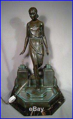 Stunning Art Deco Sculptured Table Lamp By Pierre Le Faguays Titled Nausicaa