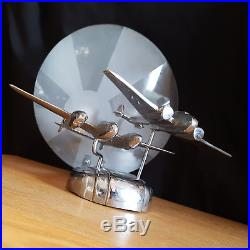 Stunning Chrome Art Deco Rising Sun Table Lamp With Twin Aircraft Mid Century