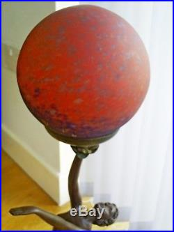 Superb Art Deco Style Bronze Effect Semi-nude Lady/french Glass Shade Table Lamp