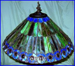 Tiffany Style Stained Glass Art Deco Peacock Feather Lamp