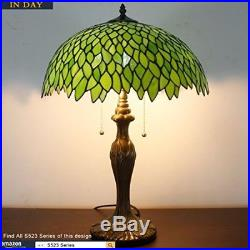 Tiffany Style Table Lamp Light Stained Glass 24 Tall Vintage Art Deco Lounge