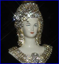 Victorian art Deco Fountain Lamp JEWELED porcelain Lady bust table chandelier