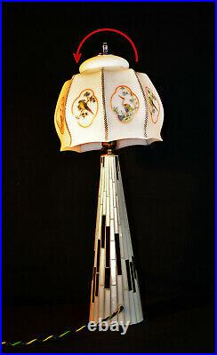 Vintage 1940s art deco space age lamp glass mosaic Opaline hand painted shade