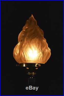 Vintage Antique Art deco 1940s desk lamp stepped base French Torch Flame Shade