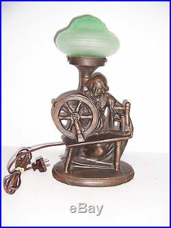 Vintage Art Deco Bronze Figural Table Lamp Of Lady With Spinning Wheel