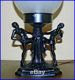 Vintage Art Deco Dancing Ladies Desk Lamp With Round Glass Shade Not Marked