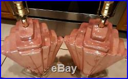 Vintage Art Deco Style Pink Ceramic Lucite Base Electric Table Lamp Matching Set