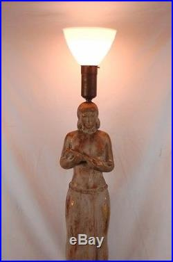 Vintage Art Deco WPA Style Nude Woman with Harvest Sculptural Table Lamp