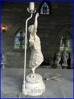 Vintage Metal Lady Table Lamp Art Deco Style Great Patina