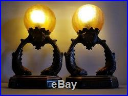 Vintage Pair Art Deco Fish Spelter Bronze Table Lamp W Brain Crackle Amber Shade