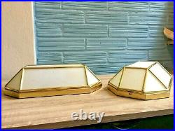 Vintage Pair of Sconce Lamp Art Deco Style Design Light Mid Century Glass Wall