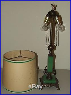 Vintage Working 1930's Art Deco Nouveau Green Jadite Table Lamp with Pierced Shade