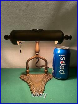 Vtg 1940s Brass ART DECO STYLE Floral Piano Bankers Student Office Desk Lamp
