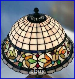 Vtg Stained Slag Glass Lamp Shade Arts & Crafts Mission Deco Tiffany Style 15