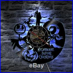 Wall Art The Nightmare Before Christmas Jack and Sally LED Back Lamp Clock Light