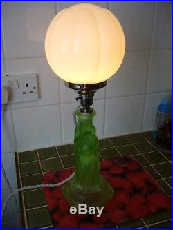 Walther Art Deco Frosted Green Uranium Glass Three Graces table Lamp