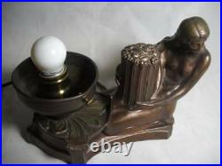 Wonderful Art Deco Nude Figural Table Desk Lamp with Globe Shade Excellent