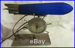 Zeppelin airplane lamp REPLACEMENT GLOBE ONLY 12 art deco shade blue glass USA